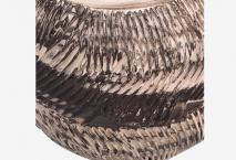 Vase à fleurs en terre mêlées strié 2