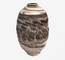 Vase à fleurs en terre mêlées strié 4