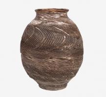 Vase à fleurs en terre mêlées strié 3