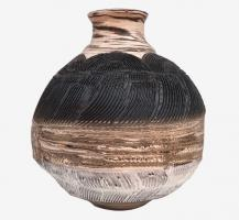 Vase à fleurs en terre mêlées strié