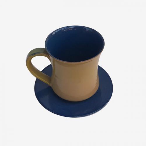 Mug et sous tasse marron mordoré et bleu marine