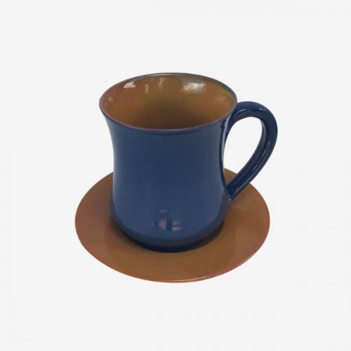 Mug bleu céruléen et marron fauve