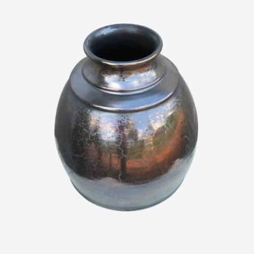Vase à fleurs noir métalique